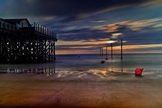 North Sea Coast, Sankt-Peter Ording, North Germany at Sunset