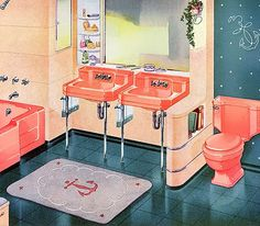 Home decor retro 1950s Bathroom, Mid Century Bathroom, Vintage Bathrooms, Chic Bathrooms, Bathroom Pink, Bathroom Ideas, Kohler Bathroom, Bathroom Things, Colorful Bathroom