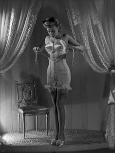 Vintage Lingerie- one of my favorite pictures - glorious satin bra and gorgeous girdle with frill trim
