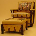 Hand Painted Chair and Ottoman
