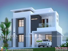 Modern Houses Discover 1800 square feet 3 bedroom elegant double storied house 1800 square feet 3 bedroom elegant looking double storied house plan by Dream Form from Kerala. 3 Storey House Design, House Roof Design, House Outside Design, Flat Roof House, Home Building Design, Bungalow House Design, Duplex Design, House Front, Modern Small House Design