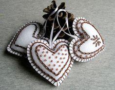 Christmas tree ornament, Felt Hearts, Handing Felt Ornament,  christmas ornament, home decor,set of 3, brown, white, chocolate,  embroidery by feltgofen on Etsy https://www.etsy.com/listing/256078570/christmas-tree-ornament-felt-hearts