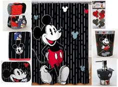 Hmmm... I love this Mickey Mouse bathroom theme! Paint the walls red?
