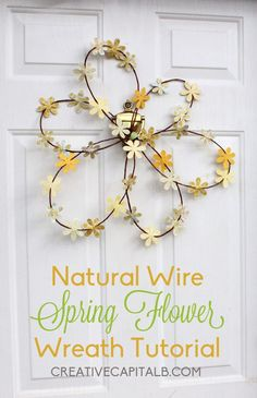 Capital B: Natural Wire Spring Flower Wreath