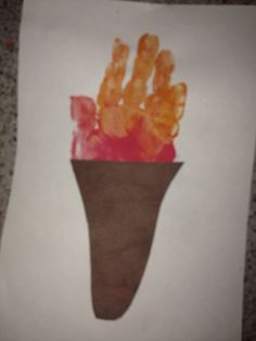 Summer Olympic craft for toddlers handprint torch