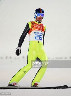 Andreas Wank of Germany lands his jump during the Men's Normal Hill Individual on day 2 of the Sochi 2014 Winter Olympics at the RusSki Gorki Ski...