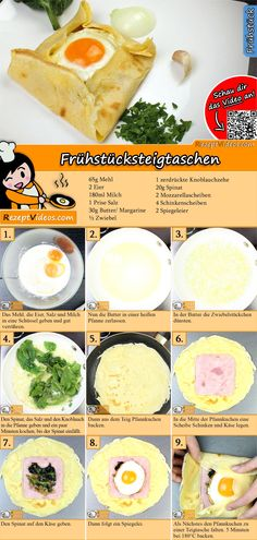 Frühstücksteigtaschen sind eine schmackhafte Kombination aus Käse, Schinken u… Breakfast bags are a tasty combination of cheese, ham and fried eggs. The breakfast bag recipe video is very easy to find using the QR code 🙂 # Breakfast rises ashes Healthy Food Options, Healthy Snacks, Healthy Recipes, Breakfast Recipes, Snack Recipes, Cooking Recipes, Bistro Food, Sandwiches For Lunch, Food Videos