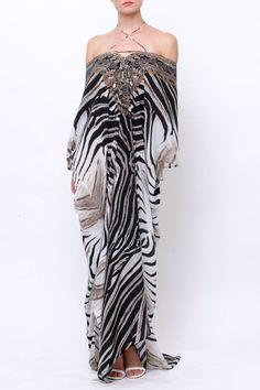 052e94c368 Use Code PARIDES FOR 20% OFF - Shahida Parides Zebra Print Kaftan Dress -  Fabric