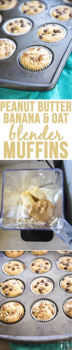 Peanut Butter, Banana, and Oat Blender Muffins - These clean eating muffins have no butter, refined sugar or oil and they're delicious. They have peanut butter, banana, oats, honey, eggs and more, all blended together and baked for a muffin everyone will love! Add chocolate chips for a little added sweetness.