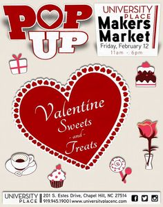 Find sweets & treats from 11am-6pm this Friday at our Valentine Sweets & Treats Popup Makers Market. Find something delcious from BIG Bundts & More Bakery, Carrboro Coffee Roasters, Carolina Caramel, Culler & Co, Five Points Baking Company, Heide's Gourmet Butter Mints and Sweeten Creek Candy Company. Also, find hand-crafted silver jewelry created by the Wentworth & Sloan Jewelers ‪#‎silversmith‬.  Meet the makers and find last minute Valentine's Day gifts & desserts!