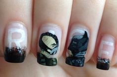 Bane/Batman Nails Batman Nail Art, Cute Nails, My Nails, Bane Batman, Superhero Baby Shower, Sticky Notes, Nerdy, Nail Designs, Nail Polish
