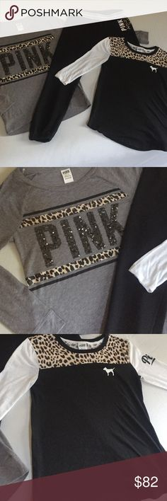 Pink 3 piece leopard outfit Pink 3 piece outfit pink bling XS long sleeve tee pink XS skinny sweats pink XS light wear PINK Victoria's Secret Tops Tees - Long Sleeve