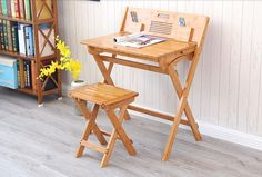128.00$  Watch now - http://aliews.worldwells.pw/go.php?t=32702325009 - Modern Bamboo Computer Desk Folding Table Bamboo Furniture Children Study Desk For Kids Foldable Compact Bamboo Laptop Table