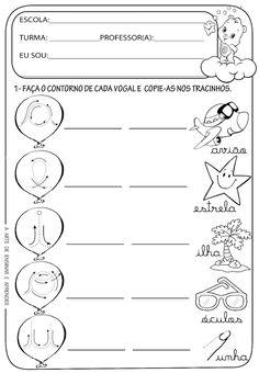 A Arte de Ensinar e Aprender: Atividades prontas - Vogais cursivas Cursive, Professor, Back To School, Teaching, Writing, Google, Language Activities, Kids Learning Activities, Communication Activities