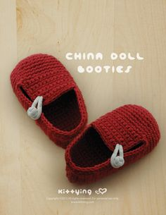China Doll Baby Booties Crochet PATTERN Kittying Crochet Pattern by kittying.com from mulu.us This pattern includes sizes for 0 - 12 months.