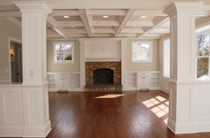 entry way, columns with coffered ceiling