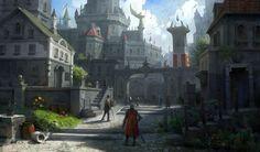 medieval fantasy concept town scene street digital lee cities artstation visit castle landscape