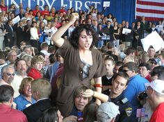 An anonymous protester at a rally at the Cedar Rapids, Iowa, airport during a McCain/Palin Rally.""