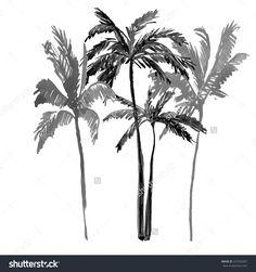 Palm Tree Isolated On White Background. Watercolor Stok Fotoğrafı 227592007 : Shutterstock