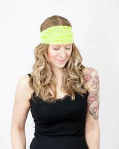 Neon Lace Headband Wide Yellow Floral Stretch by ForgottenCotton