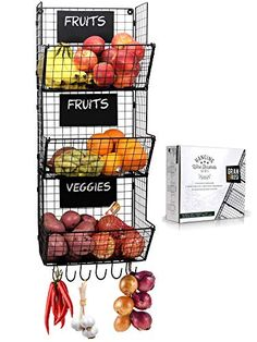Enjoy exclusive for Stylish Kitchen Hanging Fruit And Vegetable Storage Baskets Chalkboards - Perfect Your Potatoes Onions - Amazing Wire Wall Mount Produce Baskets Save Space Enhancing Home online - Nicetopnice Metal Storage Bins, Wire Basket Storage, Wire Baskets, Baskets On Wall, Wire Storage, Storage Ideas, Produce Baskets, Produce Storage, Fruit Storage
