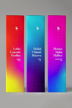 Edge Wine Packaging Bright and bold wine packaging featuring neon gradients. Cool Packaging, Wine Packaging, Skincare Packaging, Beauty Packaging, Packaging Design Inspiration, Graphic Design Inspiration, Etiquette Champagne, Label Design, Logo Design