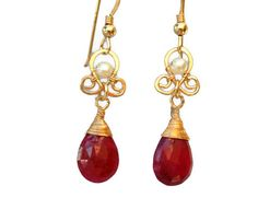 FREE Shipping- Ruby Drop and Pearl Oriental #jewelry #earrings #dangle @EtsyMktgTool http://etsy.me/2i7IYSZ