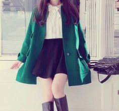 i love the emerald coat with this, it adds a nice touch of colour.