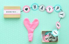 DIY HAPPY BIRTHDAY BANNER IN A BOX #banner #birthday #Box #DIY #happy Diy Birthday Banner, Diy Banner, Birthday Box, Happy Birthday Banners, Diy Gifts, Handmade Gifts, Anniversary Gifts For Him, Cocktail, Diy Box