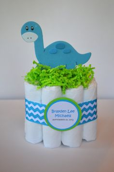 Dinosaur Mini Diaper Cake   Baby Shower Gift, Centerpiece Or Hospital Gift