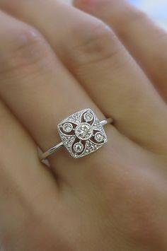 18K solid gold diamond mini art deco ring