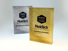 The Music Tech Awards celebrate the very best in musical technology across the globe aimed at music producers, sound engineers and recording artists. Acrylic Trophy, Plaque Design, Advertising Awards, Acrylic Awards, Custom Awards, Sound Engineer, Music Industry, Hand Engraving, Music Awards