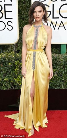 Not so mellow yellow! Emily Ratajkowski brings the sunshine in a vibrant gold dress...