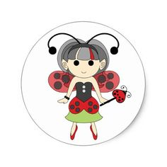 Fairy Birthday Party Favors Ladybug Fairy Cute Red Bug Fairies Circle Stickers