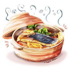Food art Food Art Painting, Food Cartoon, Watercolor Food, Food Drawing, Drawing Art, Food Journal, Cafe Food, Food Illustrations, Food Porn