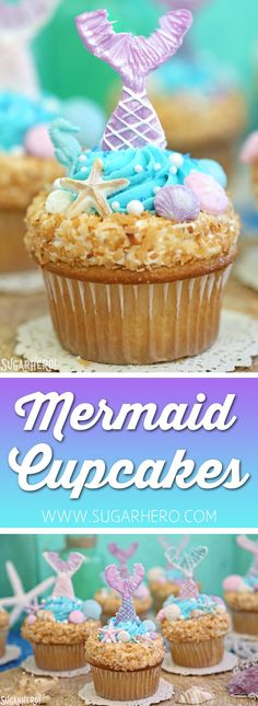 Mermaid Cupcakes - gorgeous under-the-sea cupcakes with mermaid tails and chocolate seashells! | From SugarHero.com