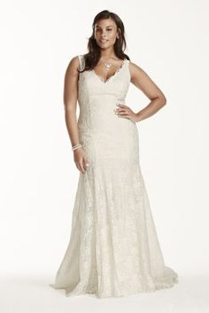 Simple yet elegant, this lace trumpet gown is truly one-of-a-kind!  Allover ivory lace gown with scalloped v-neckline.  Tank straps provides light coverage while accentuating shoulders.  All over beaded lace applique add drama to bodice and skirt.  Chapel train. Sizes 16W-26W.  Available in Ivory and White in store and online.  Fully lined. Imported polyester. Dry clean only.  Missy: Style WG3757. Sizes 0