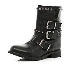 Black studded buckle biker boots - ankle boots - shoes / boots - women