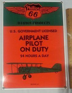 Vintage Phillips 66 Aviation Products Porcelain Sign Boeing 40 Ande Rooney VG | eBay