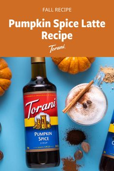 This pumpkin spice latte recipe is made with Torani syrups and is easy to make at home. Enjoy this fall inspired latte recipe. Grab our full pumpkin spice latte recipe here! Pumpkin Spiced Latte Recipe, Pumpkin Spice Syrup, Pumpkin Recipes, Pumpkin Drinks, Pumpkin Smoothie, Coffee Drink Recipes, Coffee Cocktails, Fall Dessert Recipes, Fall Recipes