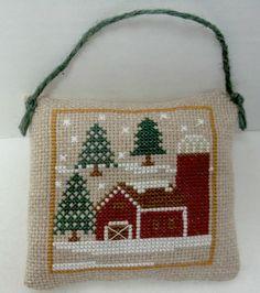 Winter Barn Cross Stitched Ornament / by luvinstitchin4u on Etsy, $14.95
