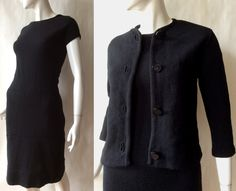 Late 1960's / early 1960's textured wool knit dress and jacket set in deep rich black, by Verona Knits, small / medium by afterglowvintage on Etsy