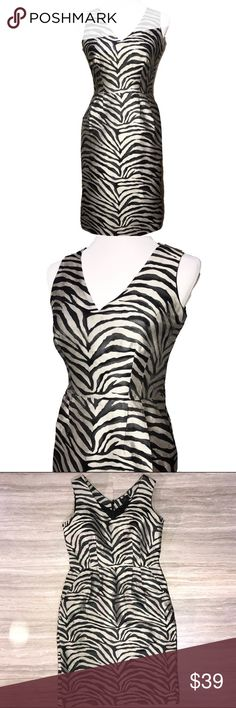 Banana Republic Zebra Shift Dress Taupe and Black Banana Republic mid length shift dress, black and taupe zebra print. Sleeveless, v neck, pleated at waist for a little flare, and side pockets. Fabric is very smooth with a slight sheen to it. Great condition. Banana Republic Dresses Midi
