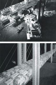 1963 Bridge City across the English Channel Yona friedman / Schulze-Fielitz Floating Architecture, Paper Architecture, Architecture Design, Yona Friedman, Kenzo Tange, English Channel, Arch Model, Master Plan, Type Setting