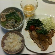 【8/5・Dinner】豚の生姜焼き、水炊き