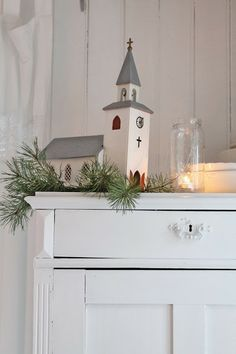 """VIBEKE DESIGN...** It didn't look like this but this reminded me of the little light up church Dad bought for Mom. I think it played the son """"Silent Night"""" **"""