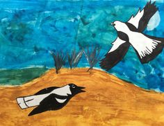 Magpies Over a Dam. Painting and collage.