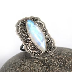 Silver Ring with Moonstone by MauraSarabeth on Etsy, $110.00
