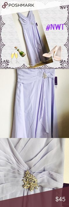 Lavender Dress From JJ House Size 12. Chiffon V-neck. Floor length. A-line w/ crystal brooch & cascading ruffles. Color Lavender. NWT JJ'S HOUSE Dresses