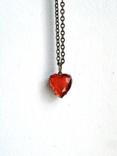 Vintage Red Glass Heart & Brass Necklace by SQUAREPEGMEG on Etsy